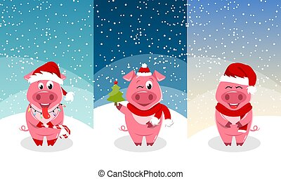 New Year Templates for Cards, Invitation with Funny Pigs Wearing Santa Hats