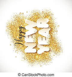 New Year text in paper style background. Vector illustration on gold glitters.