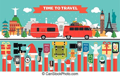New Year time to travel design flat with red microbus, trailer camping, around the world.