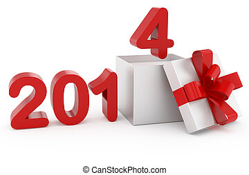 New Year title 2014 and silver gift