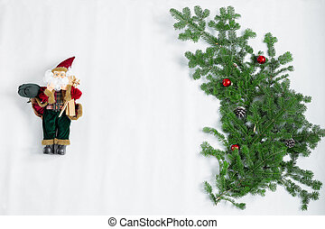 New year toy santa claus and christmas tree isolated on white background.