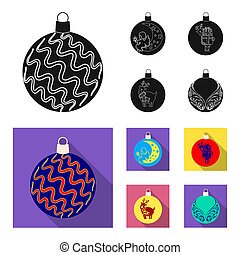 New Year Toys black, flat icons in set collection for design. Christmas balls for a treebitmap symbol stock web illustration.
