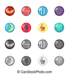 New Year Toys cartoon, monochrome icons in set collection for design. Christmas balls for a treebitmap symbol stock web illustration.