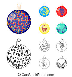 New Year Toys cartoon, outline icons in set collection for design. Christmas balls for a treebitmap symbol stock web illustration.