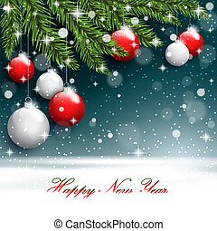 New year tree branches on the postcard background.