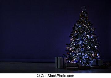 new year tree Garland lights in the dark