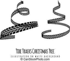 New Year tree made of tire tracks twisted in a spiral shape. Vector 3d illustration on a white
