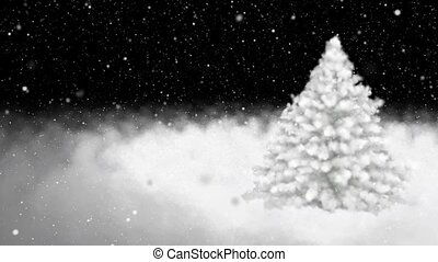 New Year tree, snowflakes - New Year's snow-covered fur-tree...