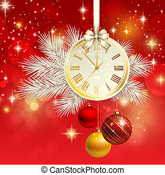New year vector background with gold clock