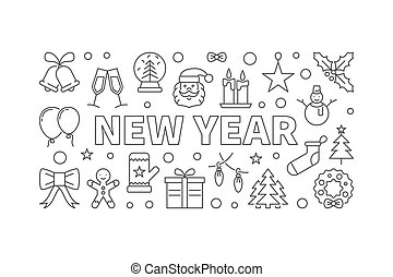 New Year vector illustration in line style on white background