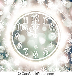 New Year Watch Over Bright Background With Snowflakes and...