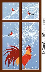 new year window with rooster