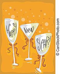 New Year Wineglass