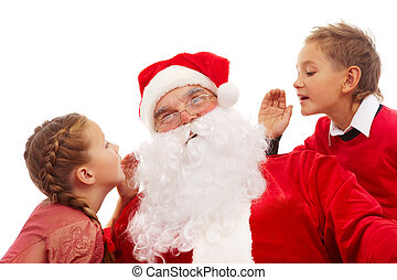 New Year wishes - Image of Santa listening to little boy and...