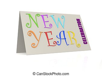 New year with folded paper