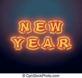 New Year with lamps vintage sign