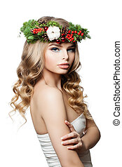 New Year Woman Fashion Model with Wavy Hair, Makeup and Christmas Wreath Isolated on White Background