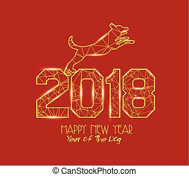 New Years 2018 polygonal line light background. Year of the dog