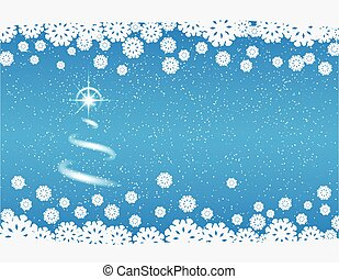 winter blue background with snowflakes and bright star