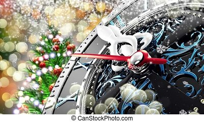 New Year's at midnight - Old clock with stars snowflakes and holiday lights.