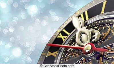 New Year's at midnight - Old clock with stars snowflakes and...