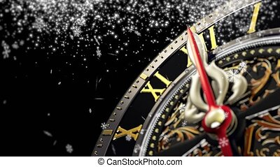 New Year's at midnight - Old clock with stars snowflakes on...