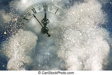 New Year's at midnight - Vintage clock on holiday background...