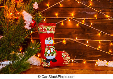 New year's boot for gifts, holiday concept