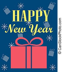 New Year's card with a gift. Blue background.
