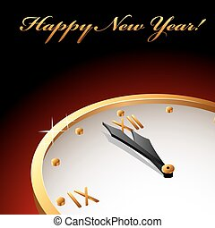 New Year's card with golden clock with hands about midnight.