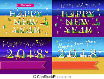 New Years Cards with beach, sea and houses