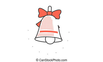 New Year's Christmas ringing bell with a red bow. Animated...
