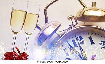 New Years concept with two glasses of sparkling wine
