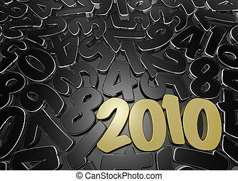 New Year\'s date among scattered figures. High quality 3D...