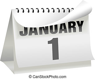 A New Year's Day calendar turns a page to change the year, month, and day to January 1 and begin a new year.