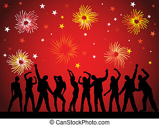 vector illustration of dancing people silhouettes on an abstract party background