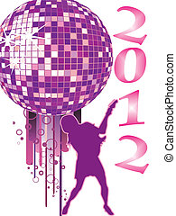 new years eve 2012 - vector illustration of a female...
