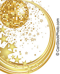 vector illustration of a golden mirror ball and golden numbers