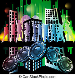 New years eve 2013 - Vector illustration of dancing people...
