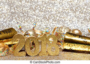 New Years Eve 2018 golden numbers and decorations with...