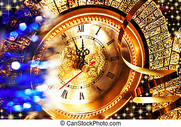 New Year's Eve at five minutes to twelve with old clocks and...