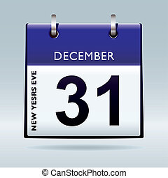 New years eve calendar blue - New years eve calendar with...