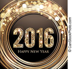 New Years Eve card - New Year card 2016 Golden shiny letters