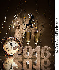 New Years Eve celebration background with pair of flutes, ...