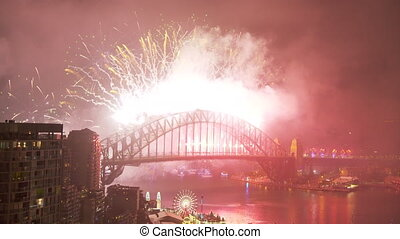 New year's eve celebration over harbour bridge - A shot of...