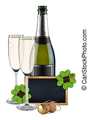 new years eve champagne bottle with blackboard