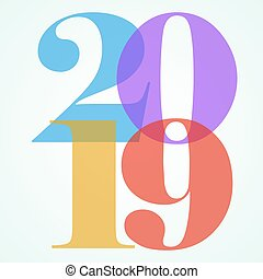 New years eve, color 2019 numbers art, vector
