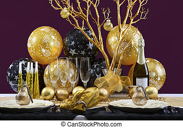 New Years Eve Dinner Table Setting.