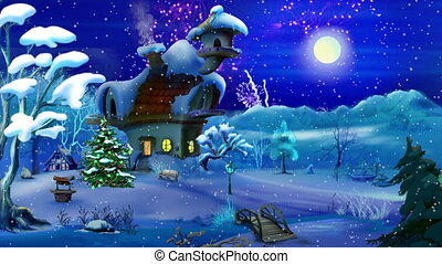 New Year's Eve Fireworks in a Magic Snowy Winter Night. Handmade animation in classic cartoon style.