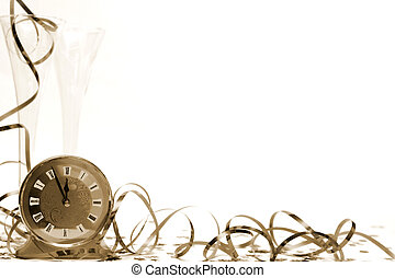New Years Eve - Glass of champagne and streamers in sepia